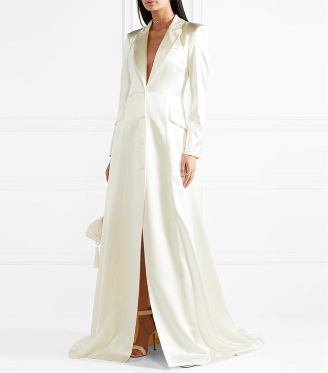 Jean Silk And Wool-Blend Satin Coat