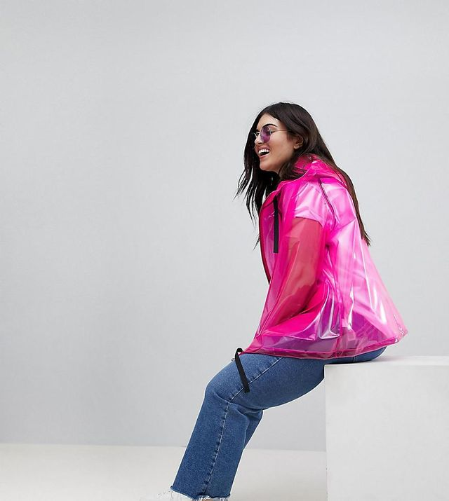 ASOS DESIGN Curve Rain Jacket With Contrast Binding
