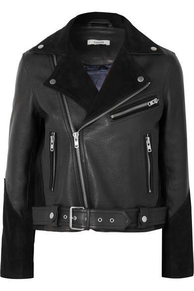 Lloyd Suede-paneled Textured-leather Biker Jacket