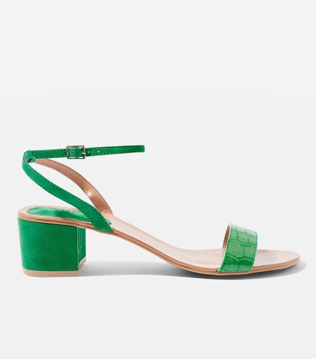 Green Darla 2 Part Block Heel Sandals