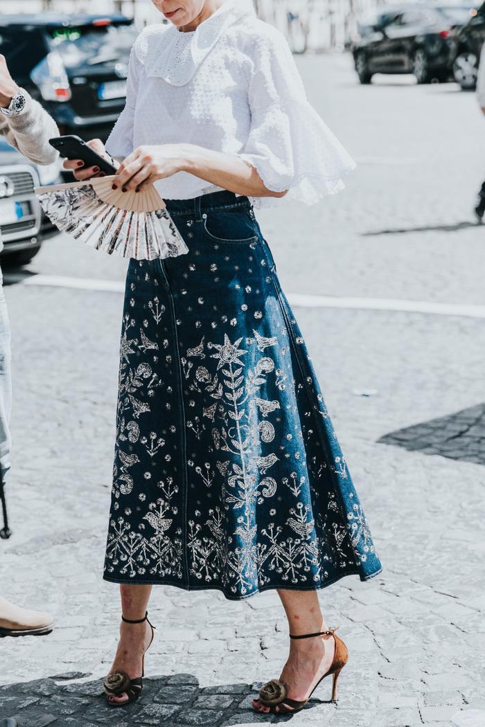 Embroidered denim skirts