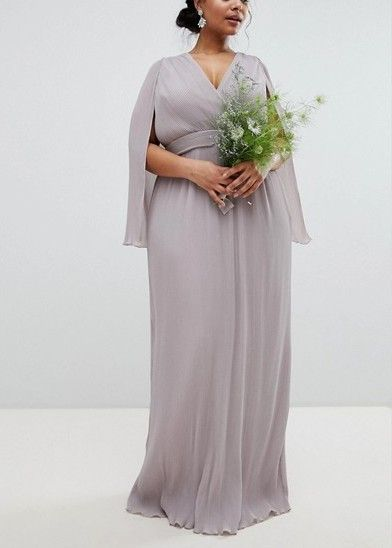 Pleated Wrap Front Maxi Bridesmaid Dress with Cape Detail