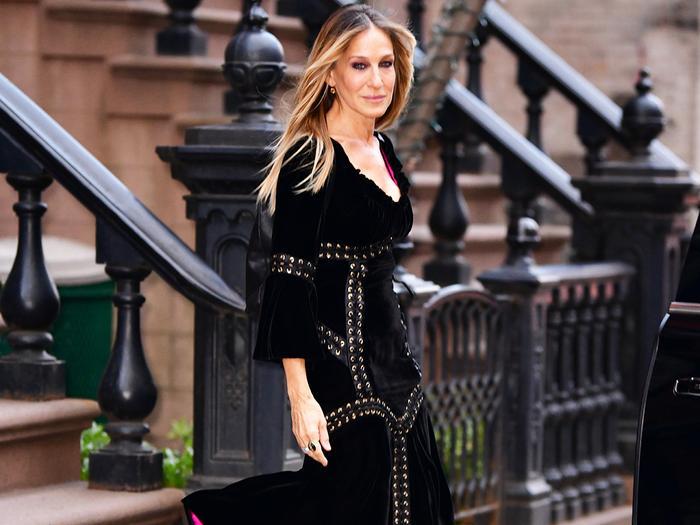 Sarah Jessica Parker wearing a black dress