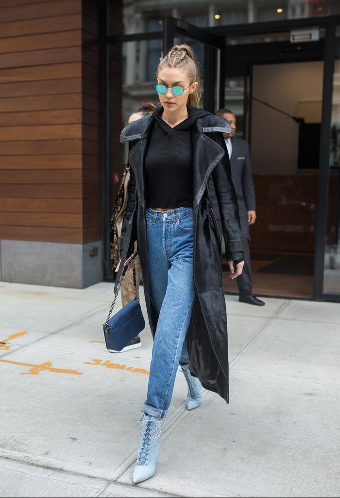 Gigi Hadid how to style a cropped sweatshirt