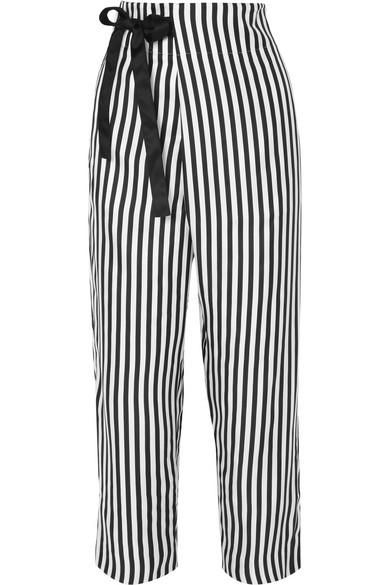 Okinawa Striped Wide-leg Silk-twill Wrap Pants