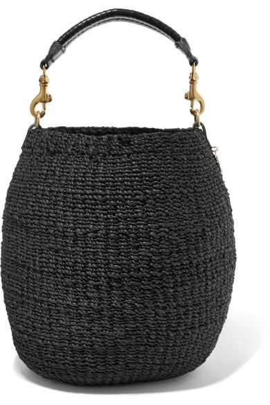 Pot De Miel Leather-trimmed Woven Abaca Straw Tote