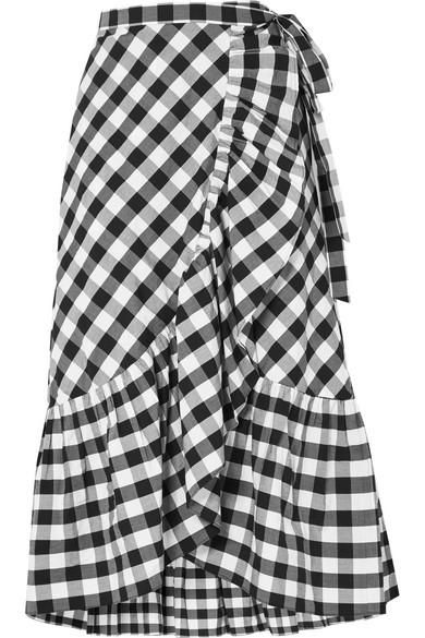 Glo Ruffled Gingham Cotton-poplin Wrap Skirt