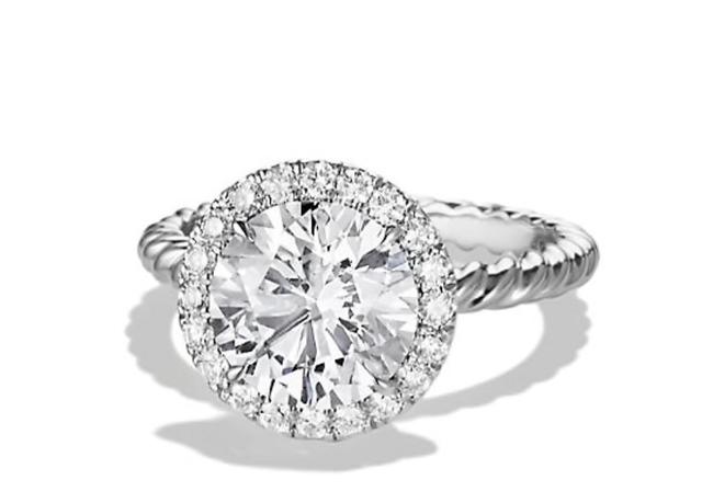 David Yurman DY Capri Engagement Ring in Platinum, Round