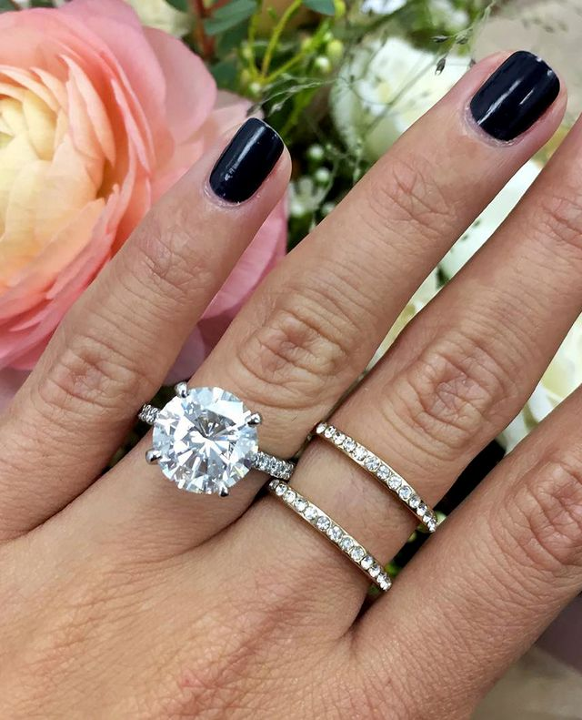 diamond-banded engagement ring