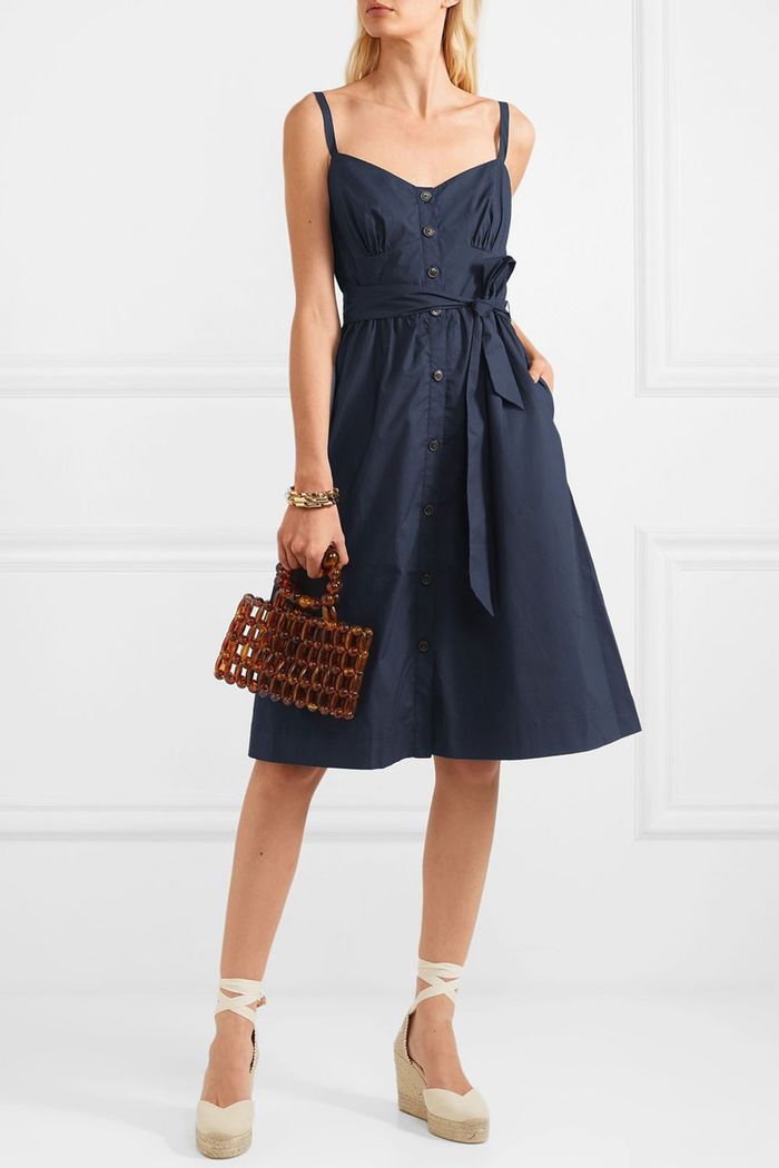 J.Crew Rossini Belted Cotton-Poplin Dress