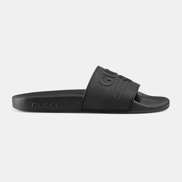 Gucci Logo Rubber Slide Sandals