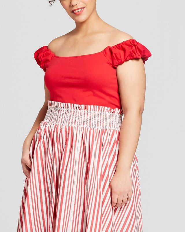 Who What Wear Short Puff Sleeve Bardot Top