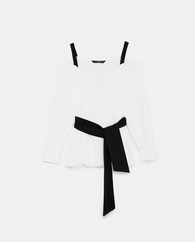 Zara Contrasting Off-the-Shoulder Top