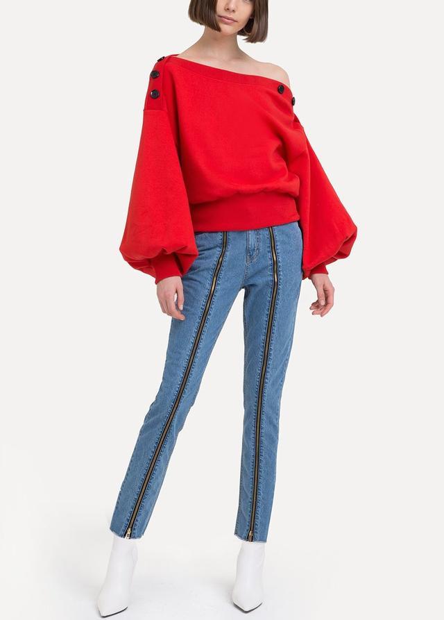 Pixie Market Jess Red Button Sweatshirt