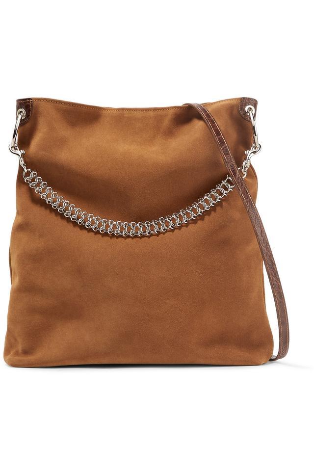 Liquor Leather-trimmed Suede Shoulder Bag