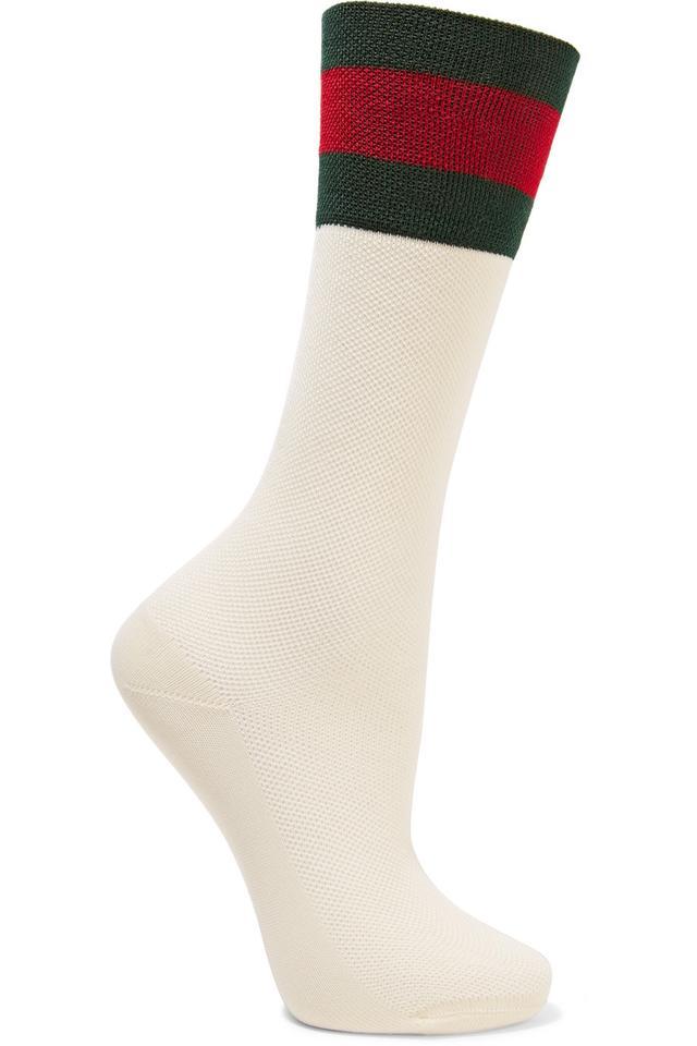 Striped Cotton-blend Mesh Socks