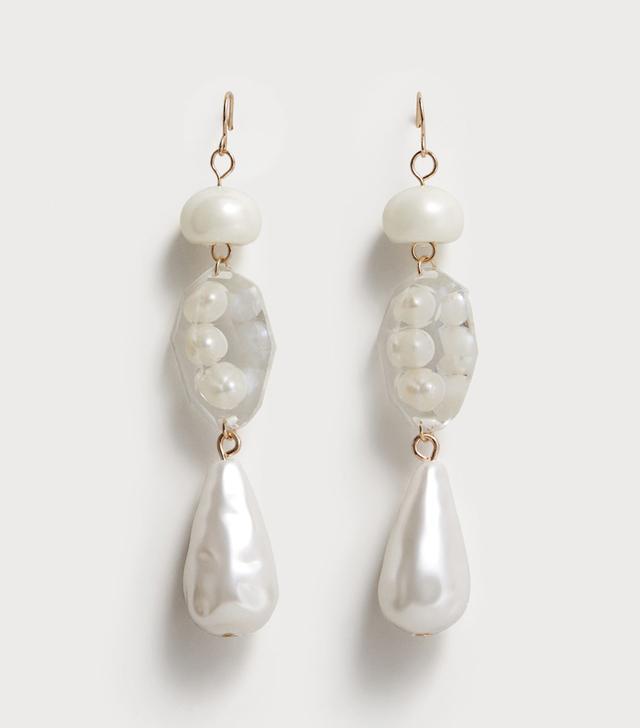 Pearl-effect crystal earrings