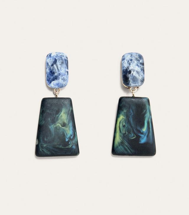 Violeta by Mango Geometric Stones Earrings