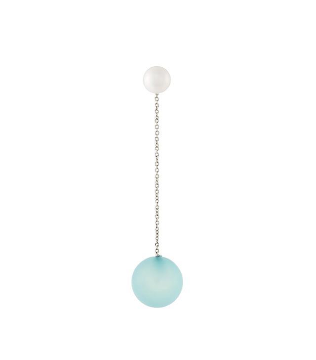 18kt gold Virus blue chalcedony earring