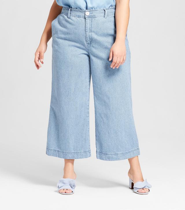 Plus Size Striped Wide Leg Trouser