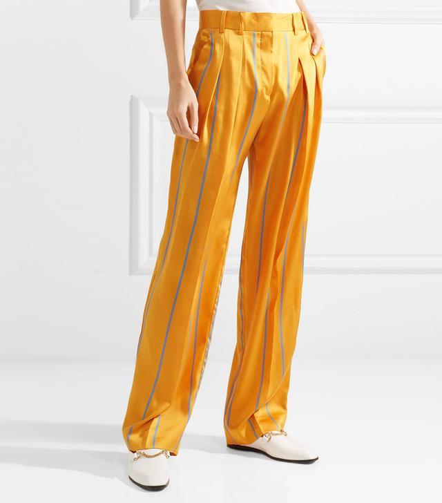 Striped Satin-twill Wide-leg Pants