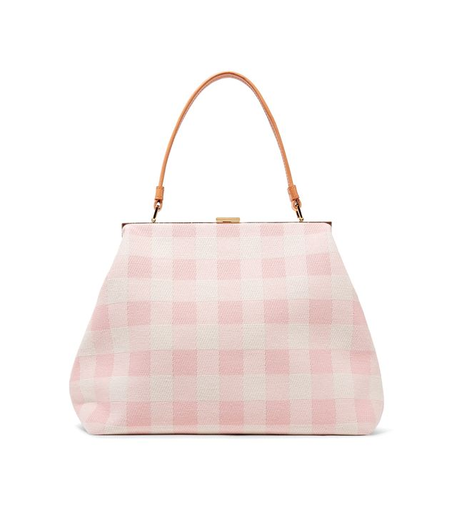 Elegant Leather-trimmed Checked Cotton-canvas Tote