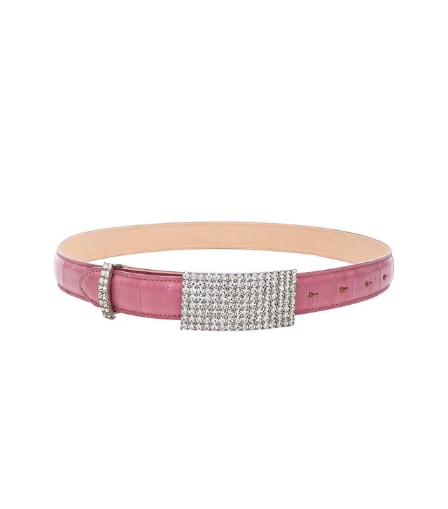 Alessandra Rich Crystal Buckle Eel Skin Belt
