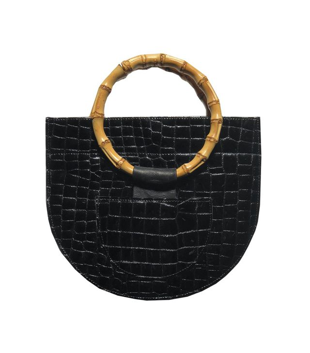 Veda Mini Half Moon Bag in Black Croc