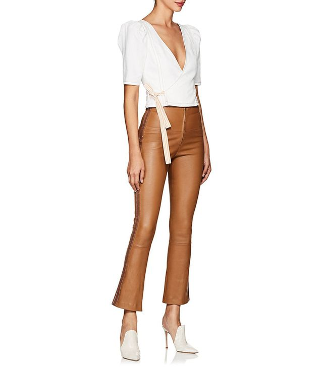 Women's Leather Flared-Leg Pants