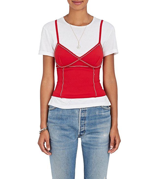 Women's Rhinestone-Embellished Jersey Corset Top