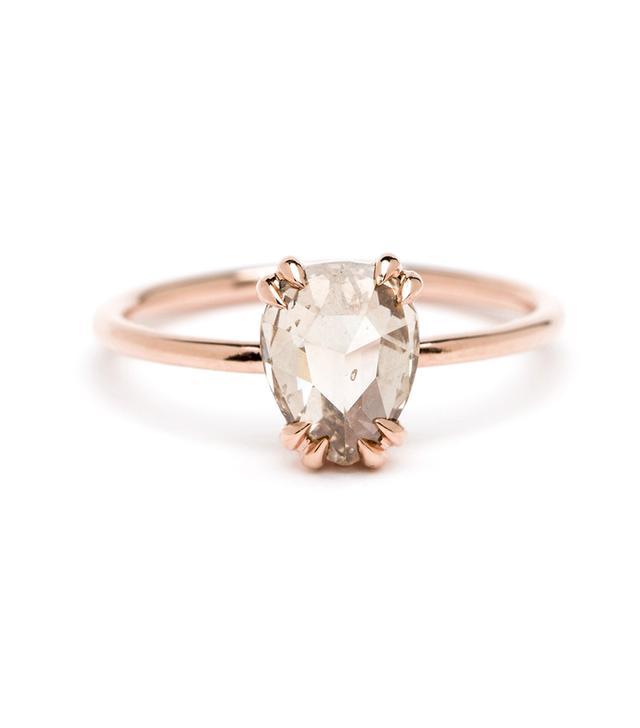 Sofia Kaman Simple Solitaire Pear Shape Rose Cut 1.34 Ct Champagne Diamond Ring