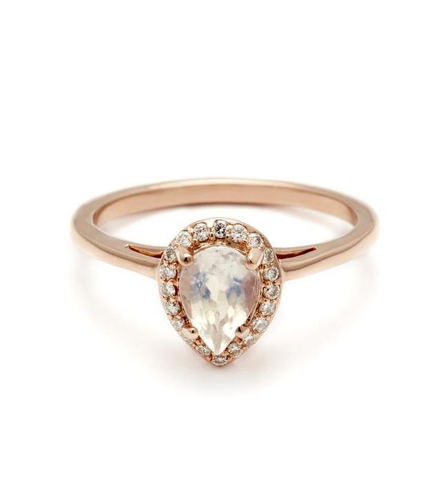 Anna Sheffield Pear Rosette Ring Rose Gold & Rainbow Moonstone
