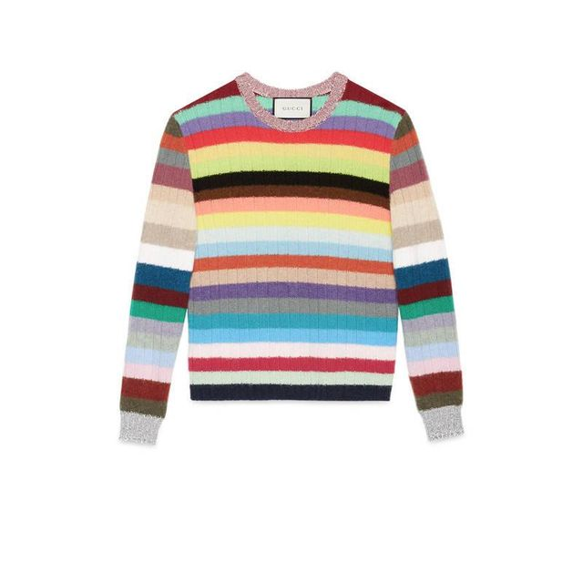 Cashmere and merino stripe knitted top