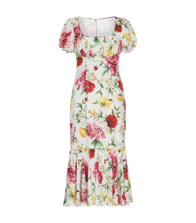 Floral-Print Stretch-Silk Dress