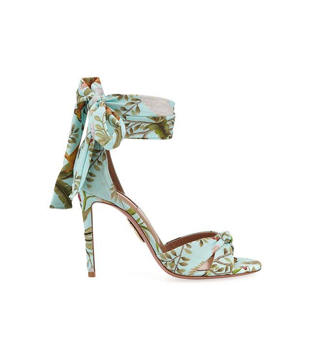 de Gournay Jacquard Ankle-Wrap 105mm Sandal