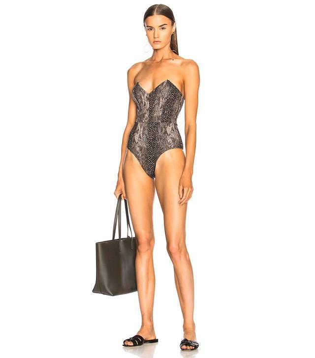Strapless V Neck Swimsuit
