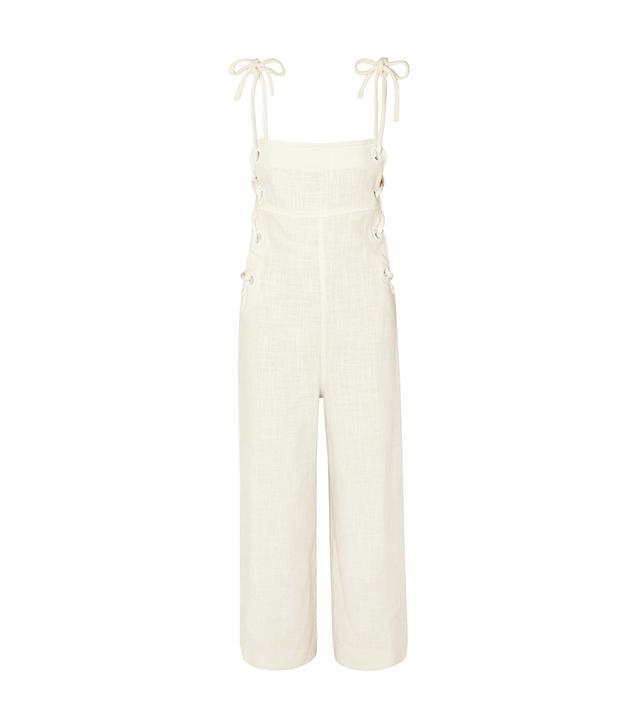 Bob Lace-up Linen-blend Jumpsuit