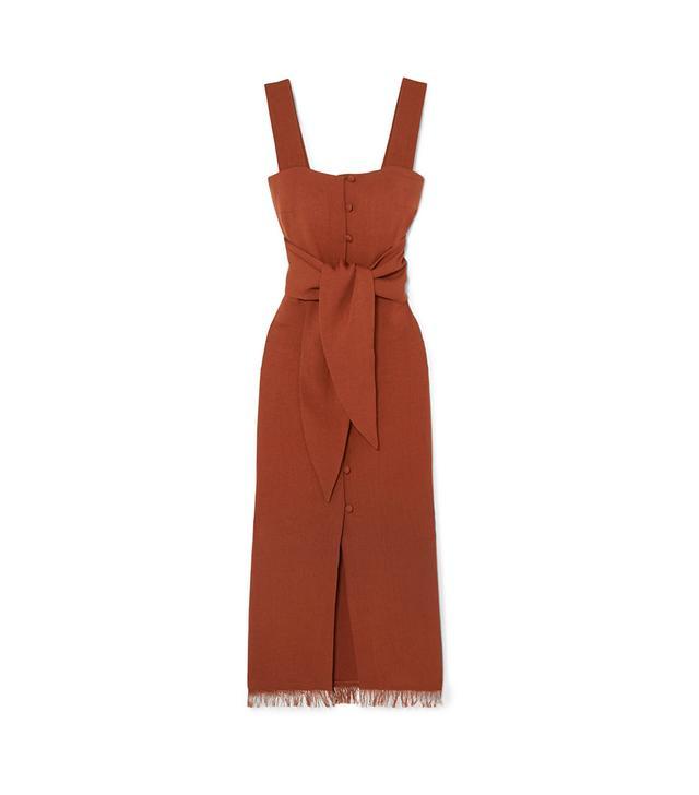 Riley Tie-front Canvas Midi Dress