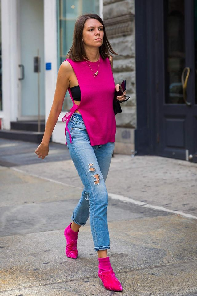 Julia Gall in a hot pink tank top