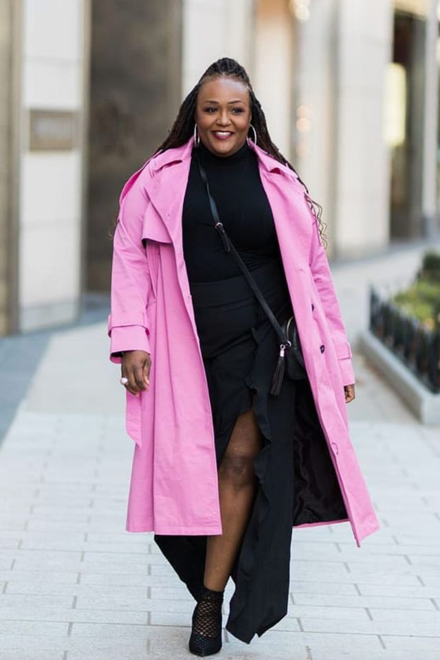 Sometimes a lightweight pink trench coat is the perfect finishing layer.