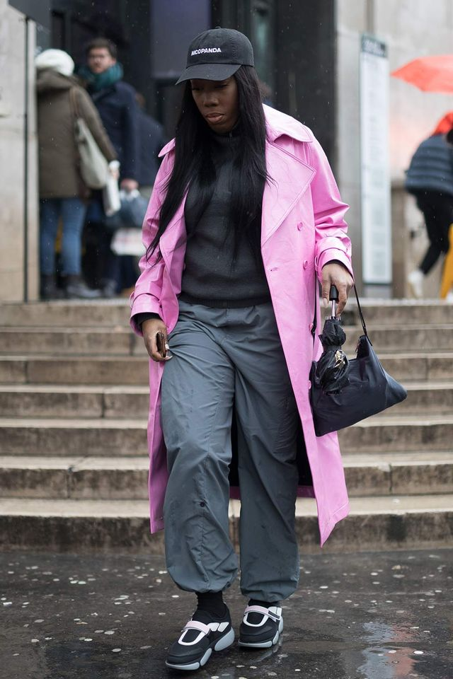 Pink and black street style