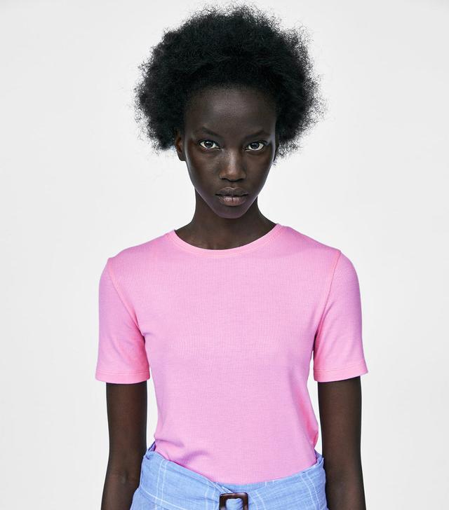 Zara Cropped Ribbed T-Shirt