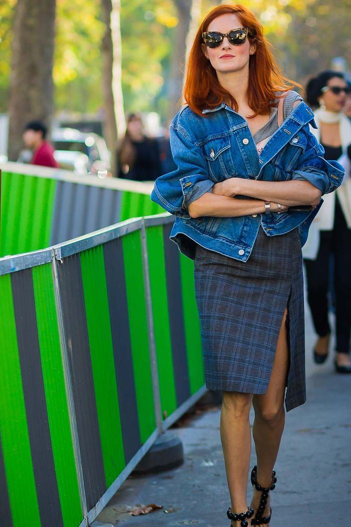 Taylor Tomasi Hill in a jean jacket