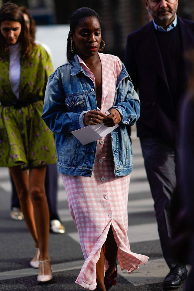 Street style denim jacket and gingham dress