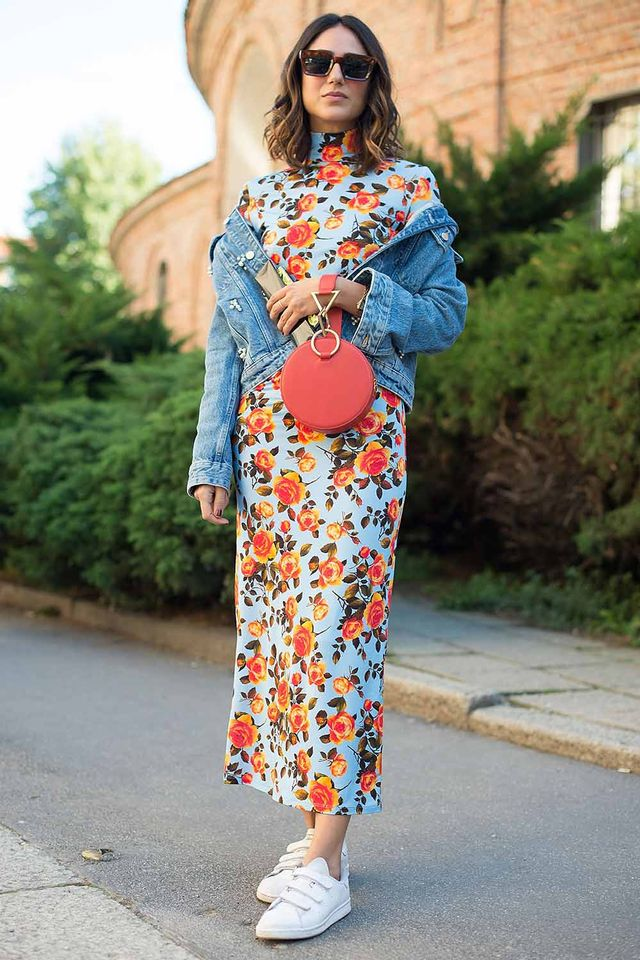 Street style floral dress denim jacket