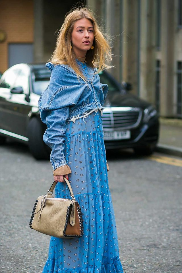 Street style denim jacket maxi dress