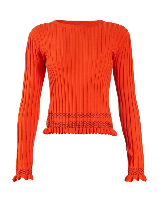 Malou ruffled-cuff ribbed-knit sweater