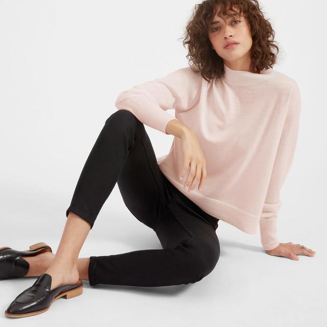 Women's Luxe Wool Crop Mockneck Sweater by Everlane in Pale Pink, Size XL