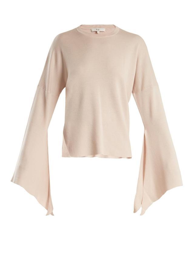Slit-side wool-blend knit sweater