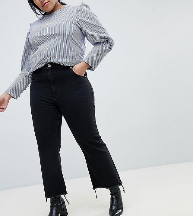 ASOS DESIGN Curve Rigid Crop Flare Jeans In Washed Black With Raw Hem